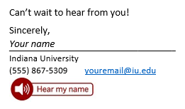 image of a button reading 'hear my name' at the bottom of an email signature