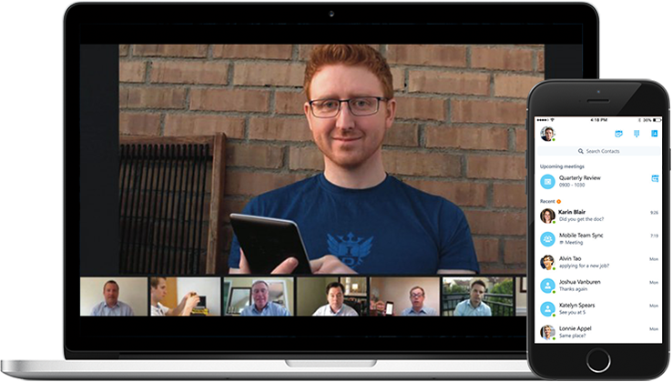 Computer and smart phone with video conferencing software